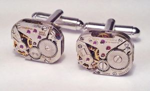 Rectangular Steampunk Cufflink by SteamDesigns
