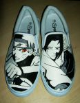Naruto VS Sasuke Custom Painted Canvas Shoes by Simone93