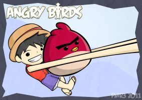 The Angry Bird with Luffy by cocomban
