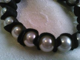 Satin ribbon and pearl bracelet (close up) by PhunkyMnkCreations