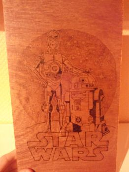 StarWars - R2D2 and C3PO - pyrography by tokita59