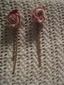 Fabric Flower Earrings by xewioso