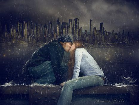 Kiss in the rain by irinama