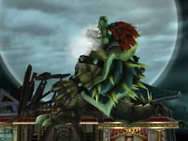 giga bowser howling the moon by MarioXfiles