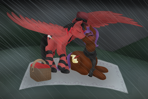 Picnic in the Rain - Commission by CakeyWakeyC