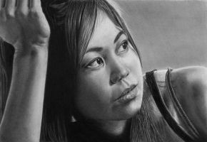 Pencil portrait of Dru by LateStarter63