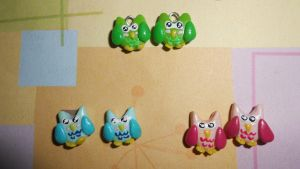 Litlle colorfull owls by pompoentje666