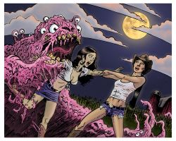 Country Gals meet the Slime Monster by ColinRichards