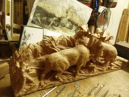 Moose bull fighting in progress 9 by woodcarve