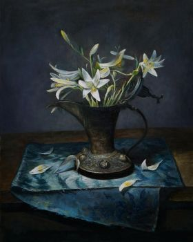Copper pitcher with white lilies by marcheba