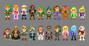 Legend of Zelda Characters 8 Bit by LustriousCharming