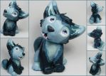 Blue Husky Puppy Sculpture by LeiliaClay