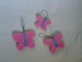 Fluttershy's Butterfly plush charms by millylilly14