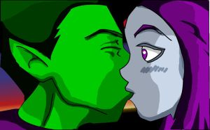 Beast Boy and Raven by Fabey by HiAgain69