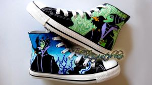 Maleficent custom shoes handpainted by Raw-J