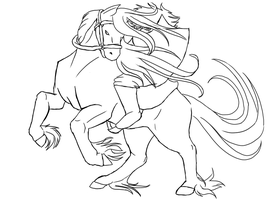 Horse and Rider Lineart by Flautist4ever
