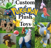 Custom Pokemon Plush Toys by NerdyKnitterDesigns