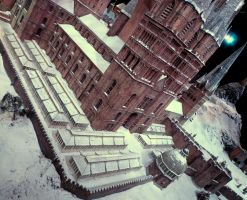 hogwarts castle in the snow, film set greenhouses by Sceptre63