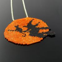 Bead loomed pendant witch and cat on moon by CatsWire