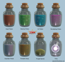 LOZ: Skyward Sword - Bottles by seancantrell