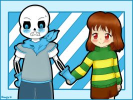Underswap Sans and Chara by Shenjie-chan1998