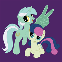 Shadowbox Mock-up: Lyra + Bon Bon by The-Paper-Pony