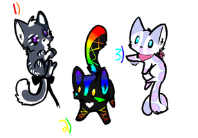 Cat Adoptables. :LOWERED PRICES: by LeaTheInvader