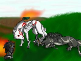 Amaterasu, Link and family by PurroPurro