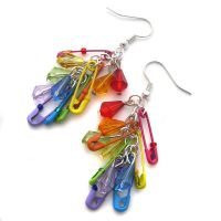 Rainbow Safetypin Earrings by fairy-cakes