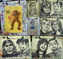 Sketch card commissions from Acen and WisCon 2014 by alex-heberling
