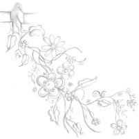 Flower Vine Tattoo Design b+w by scandalouscombo