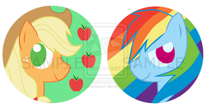 Applejack and Rainbow Dash Buttons/Badges by Kitsune--Rin