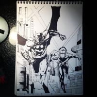 Batman and Nightwing. by DrawMEGA