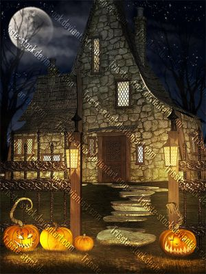 Halloween Witch House by Trisste-stocks
