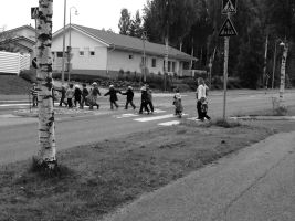 Children crossing the street in Pirkkala, Finland by Saari-Dreams