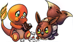 Charmander and Eevee - Welcome Home Card by HappyHyperHaro