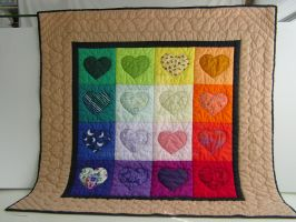 Rainbow Hearts Baby Quilt, 2 by SilverrOne