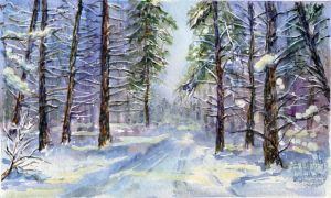 Winter landscape 16. Watercolour. by alartstudio