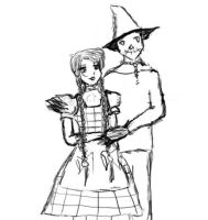 Dorothy and Scarecrow Sketchy by TheAngelofHavoc