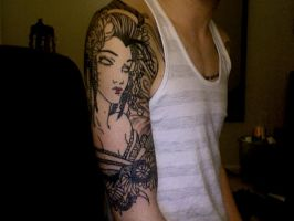 Geisha half sleeve by danestain