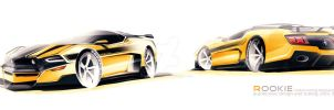 Ford Mustang Mach1 concept sketch by rookiejeno