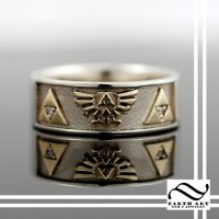 Hyrule Crest Band in Mixed Metal Gold by mooredesign13