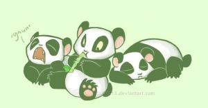 3 pandas by LaughingSkeleton