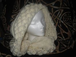 Dragon Scale Hooded Mantle Ivory by WillowForrestall