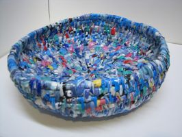 recycled blue plastic basket by sarahracha