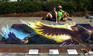 Zeus and Hera Space Owls pose Chalk Art by charfade