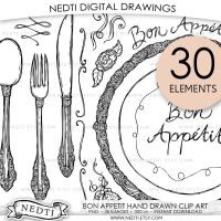 Bon Appetit Hand-Drawn Clip-Art by Nedti by Nedti