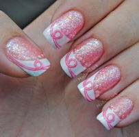 Breast Cancer Awareness nail art by MadamLuck