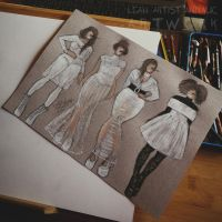 Fashion sketches by Leah Artist by Cleicha