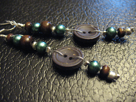Brown and Blue Button Earrings by sampdesigns